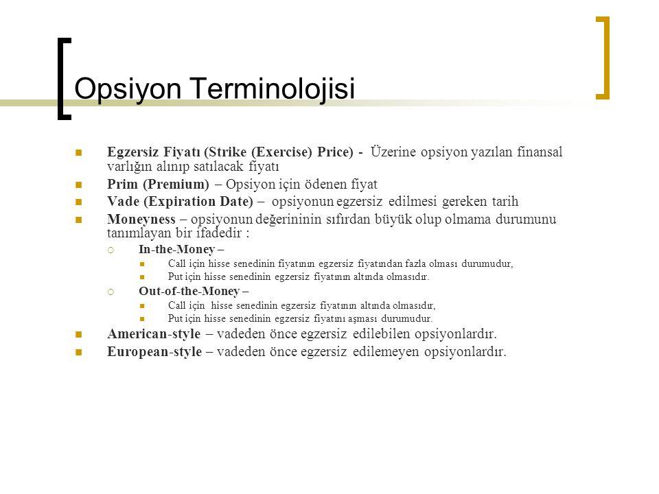 Opsiyon Terminolojisi Egzersiz Fiyatı (Strike (Exercise) Price) - Üzerine opsiyon yazılan finansal varlığın alınıp satılacak fiyatı Prim (Premium) – O