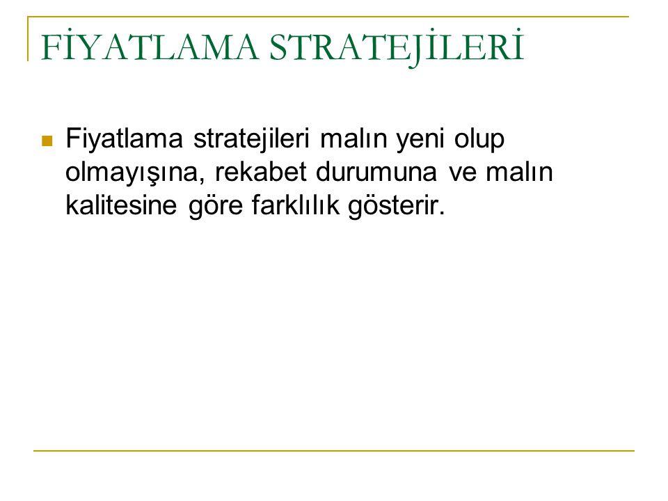 Fiyat stratejileri FİYAT DÜZEYİ Yüksek orta düşük Yüksek Orta Düşük Ekstra fiyat stratejisi (1) Yüksek değer stratejisi (2) Süper değer stratejisi (3) Fahiş fiyat stratejisi (4) Orta değer stratejisi (5) İyi değer stratejisi (6) Soyucu fiyat stratejisi (7) Ucuz gösterme stratejisi (8) Ucuz fiyat stratejisi (10) MALKALİTESİMALKALİTESİ