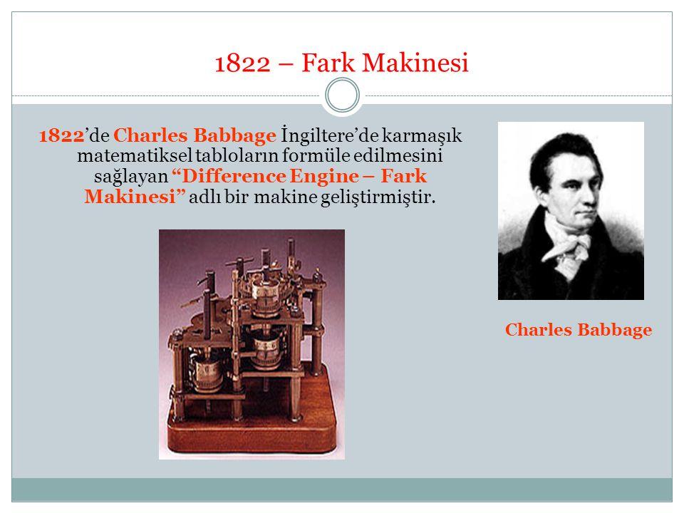 """1822 – Fark Makinesi 1822'de Charles Babbage İngiltere'de karmaşık matematiksel tabloların formüle edilmesini sağlayan """"Difference Engine – Fark Makin"""