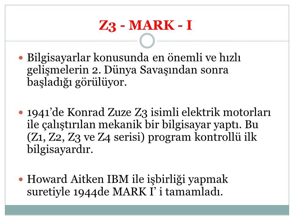 Z3 - MARK - I Bilgisayarlar konusunda en önemli ve hızlı gelişmelerin 2. Dünya Savaşından sonra başladığı görülüyor. 1941'de Konrad Zuze Z3 isimli ele