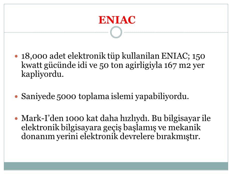 ENIAC 18,000 adet elektronik tüp kullanilan ENIAC; 150 kwatt gücünde idi ve 50 ton agirligiyla 167 m2 yer kapliyordu. Saniyede 5000 toplama islemi yap
