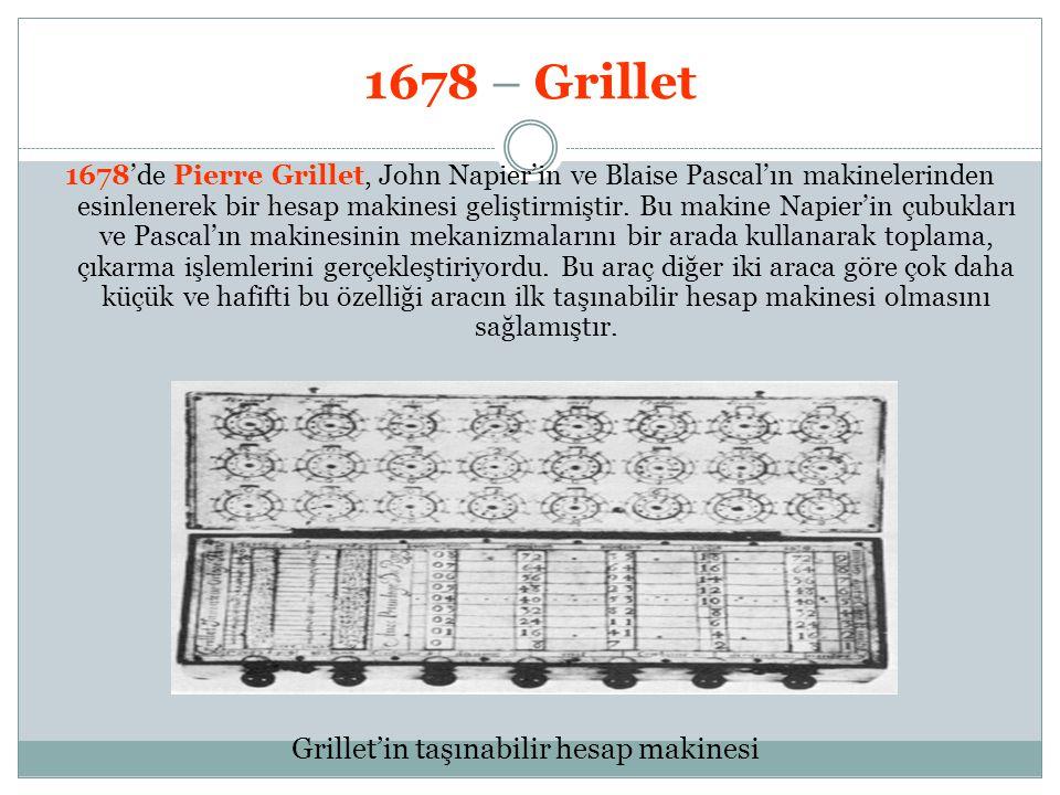 1678 – Grillet 1678'de Pierre Grillet, John Napier'in ve Blaise Pascal'ın makinelerinden esinlenerek bir hesap makinesi geliştirmiştir. Bu makine Napi