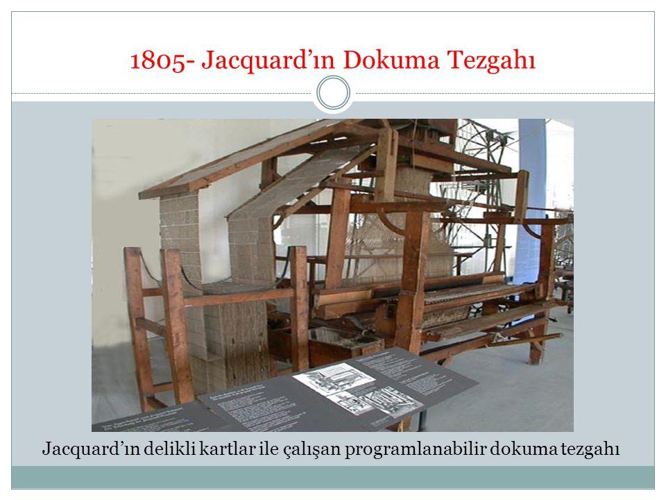 1805- Jacquard'ın Dokuma Tezgahı Jacquard'ın delikli kartlar ile çalışan programlanabilir dokuma tezgahı