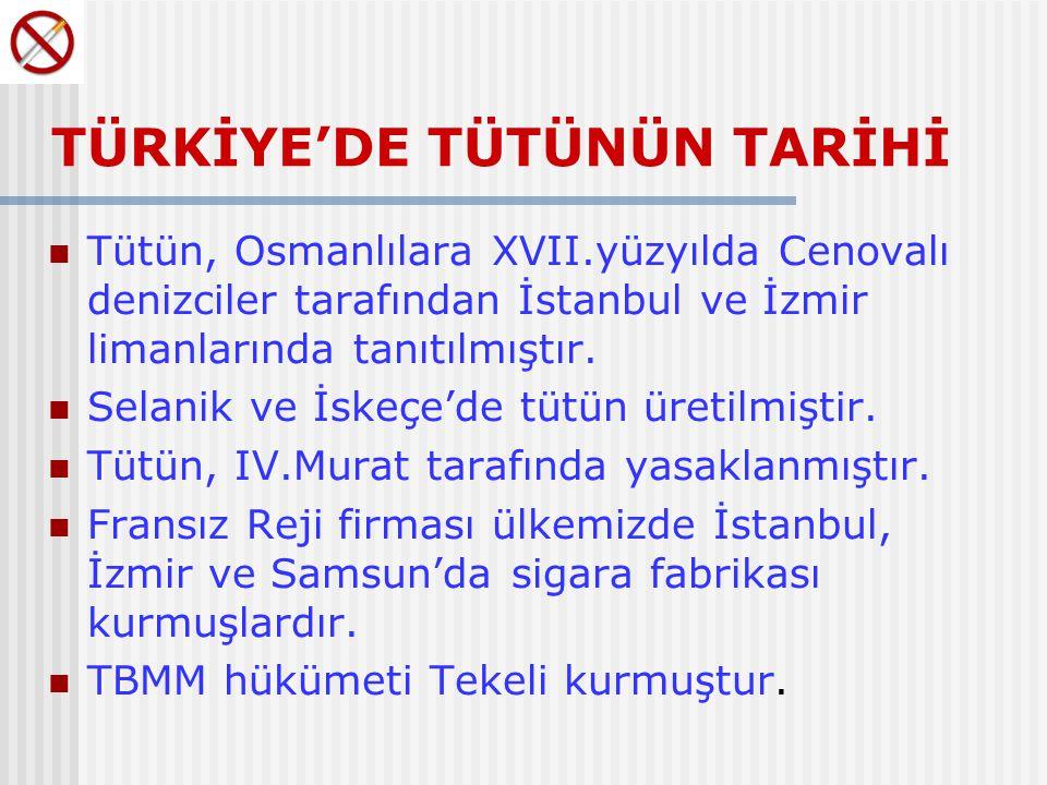 TÜRKİYE'DE TÜTÜNÜN TARİHİ Tütün, Osmanlılara XVII.yüzyılda Cenovalı denizciler tarafından İstanbul ve İzmir limanlarında tanıtılmıştır.