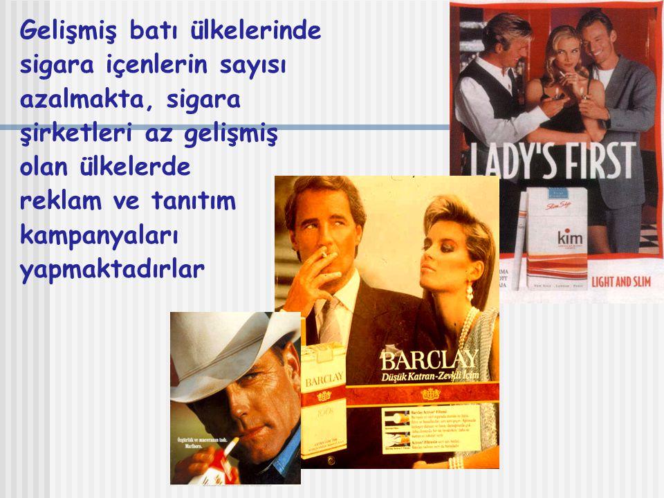 Gelişmiş batı ülkelerinde sigara içenlerin sayısı azalmakta, sigara şirketleri az gelişmiş olan ülkelerde reklam ve tanıtım kampanyaları yapmaktadırlar