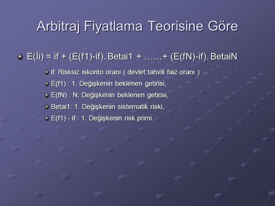 Arbitraj Fiyatlama Teorisine Göre E(İi) = if + (E(f1)-if). Betai1 + ……+ (E(fN)-if). BetaiN if: Risksiz iskonto oranı ( devlet tahvili faiz oranı ) E(f