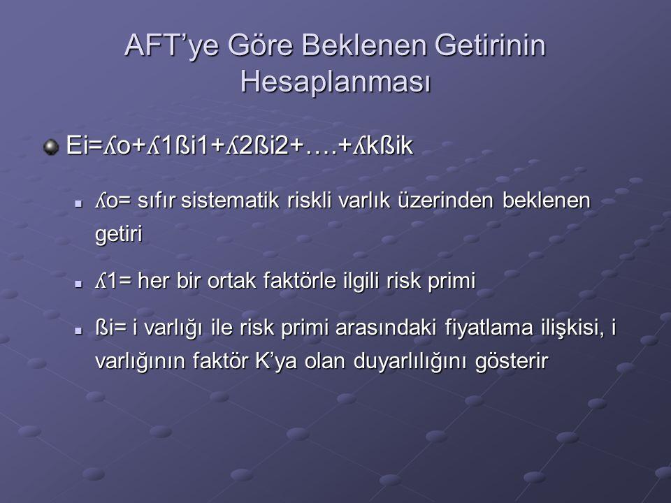 AFT'ye Göre Beklenen Getirinin Hesaplanması Ei= ʎ o+ ʎ 1ßi1+ ʎ 2ßi2+….+ ʎ kßik ʎ o= sıfır sistematik riskli varlık üzerinden beklenen getiri ʎ o= sıfı