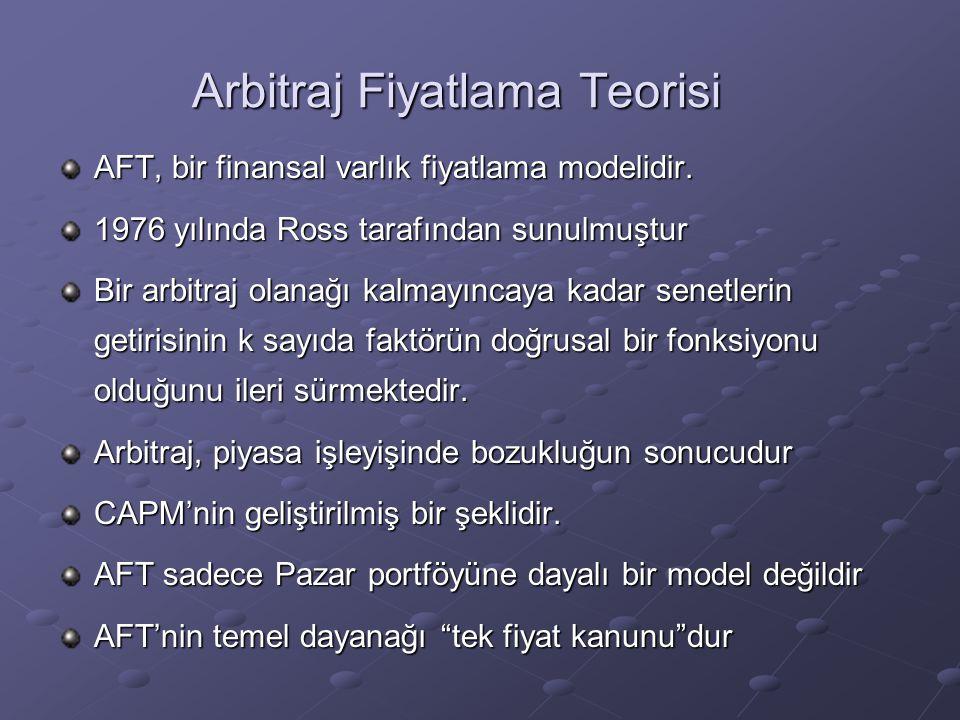 Arbitraj Fiyatlama Teorisi AFT, bir finansal varlık fiyatlama modelidir. 1976 yılında Ross tarafından sunulmuştur Bir arbitraj olanağı kalmayıncaya ka