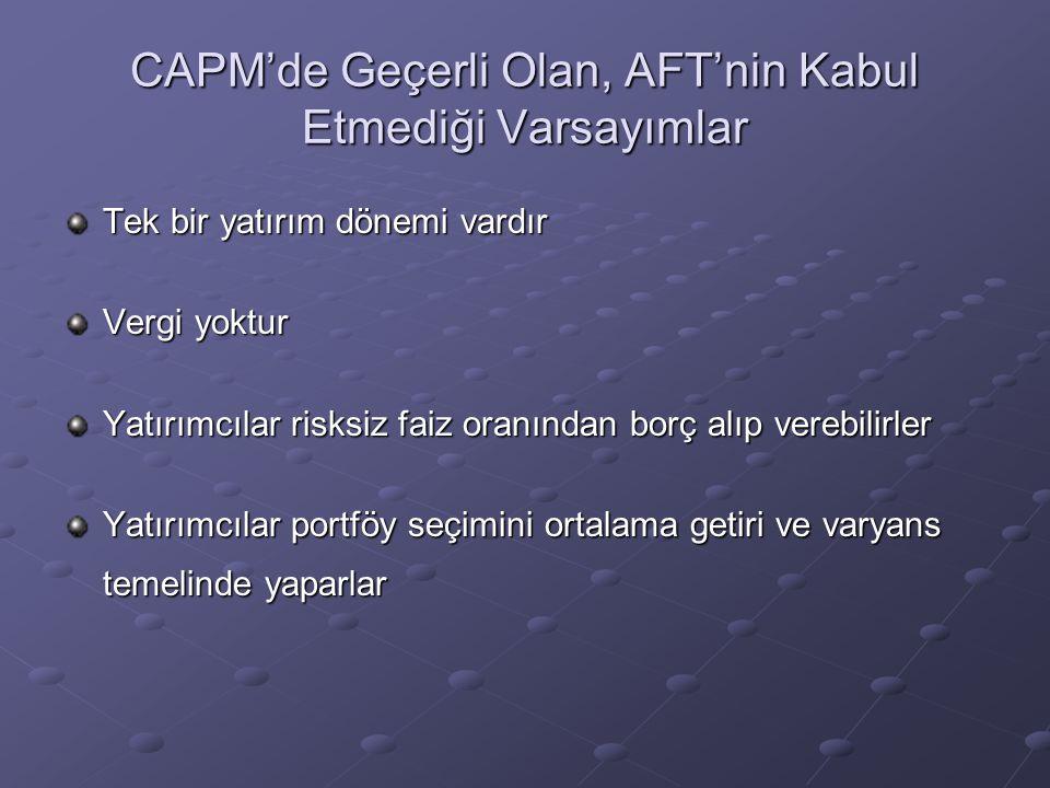 CAPM'de Geçerli Olan, AFT'nin Kabul Etmediği Varsayımlar Tek bir yatırım dönemi vardır Vergi yoktur Yatırımcılar risksiz faiz oranından borç alıp vere