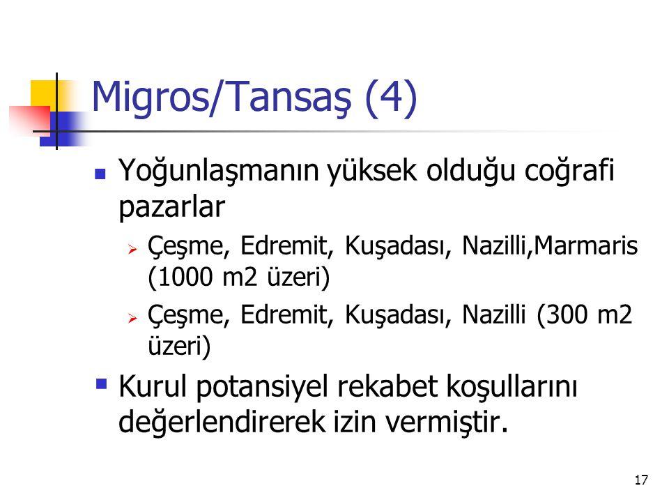 17 Migros/Tansaş (4) Yoğunlaşmanın yüksek olduğu coğrafi pazarlar  Çeşme, Edremit, Kuşadası, Nazilli,Marmaris (1000 m2 üzeri)  Çeşme, Edremit, Kuşad