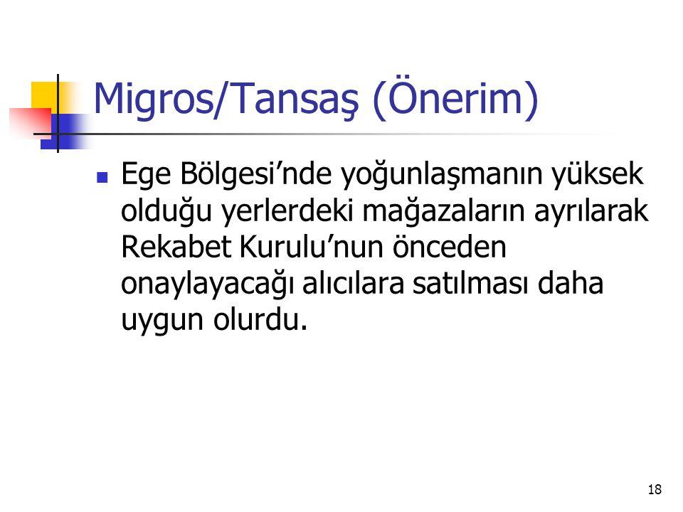 18 Migros/Tansaş (Önerim) Ege Bölgesi'nde yoğunlaşmanın yüksek olduğu yerlerdeki mağazaların ayrılarak Rekabet Kurulu'nun önceden onaylayacağı alıcıla