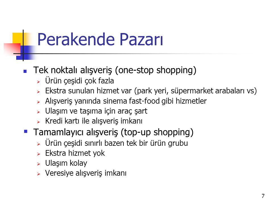 7 Perakende Pazarı Tek noktalı alışveriş (one-stop shopping)  Ürün çeşidi çok fazla  Ekstra sunulan hizmet var (park yeri, süpermarket arabaları vs)