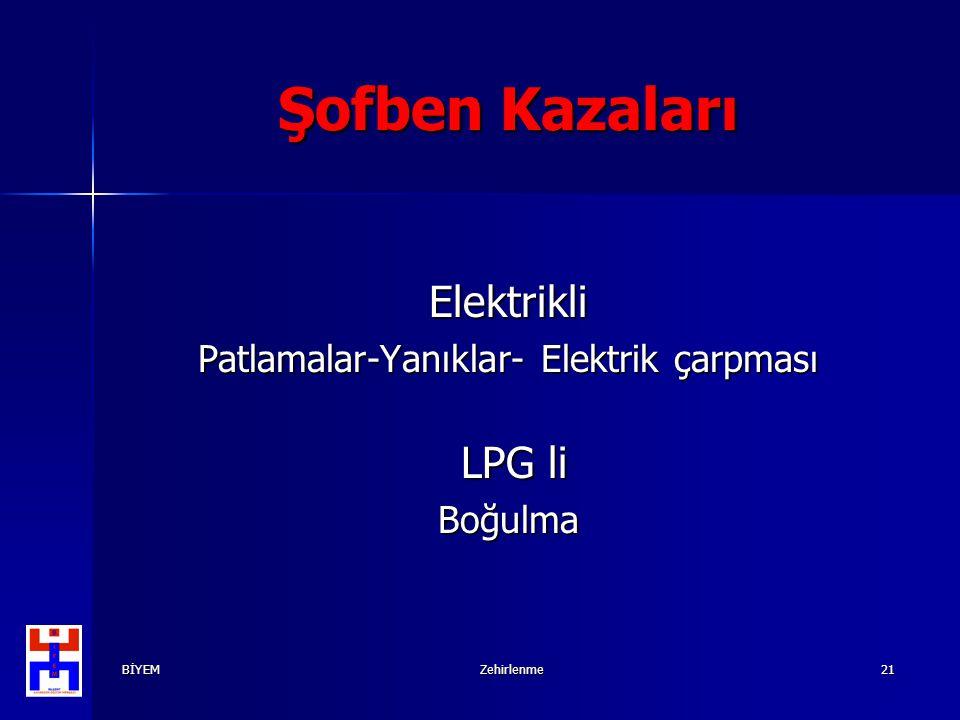 BİYEMZehirlenme21 Şofben Kazaları Elektrikli Patlamalar-Yanıklar- Elektrik çarpması LPG li LPG liBoğulma