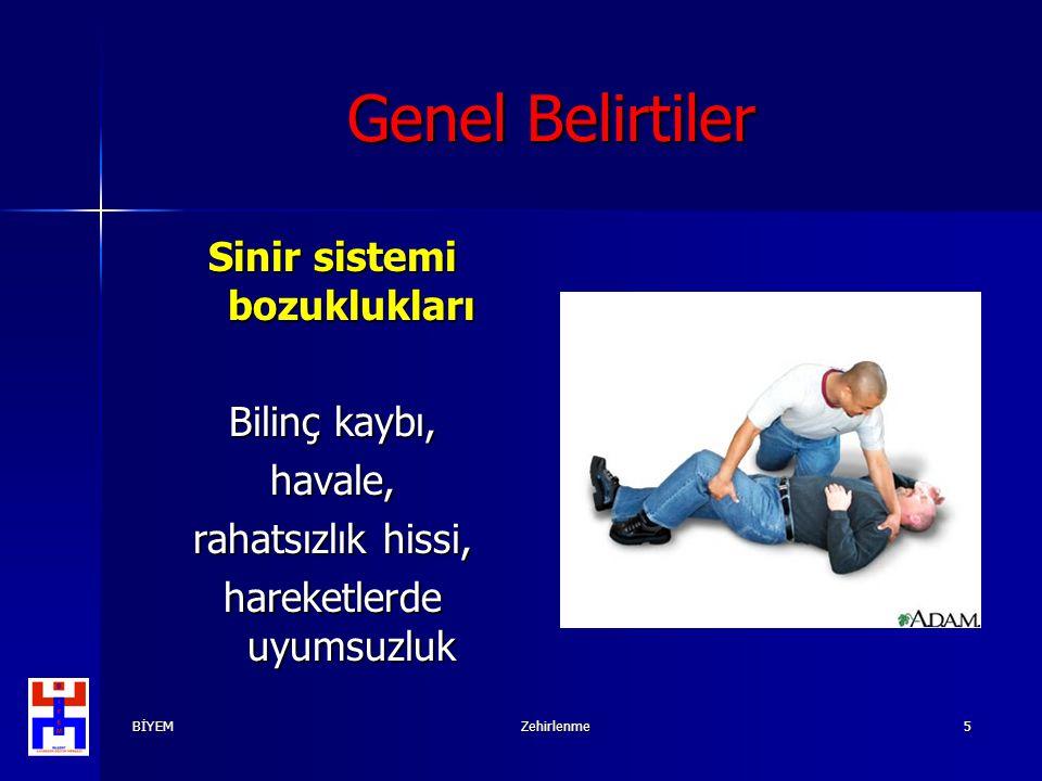 BİYEMZehirlenme5 Genel Belirtiler Sinir sistemi bozuklukları Bilinç kaybı, havale, rahatsızlık hissi, hareketlerde uyumsuzluk