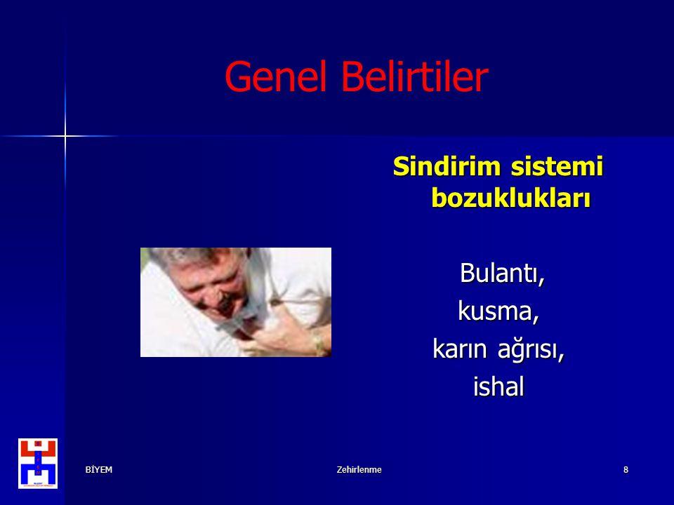 BİYEMZehirlenme8 Genel Belirtiler Sindirim sistemi bozuklukları Bulantı, Bulantı,kusma, karın ağrısı, ishal