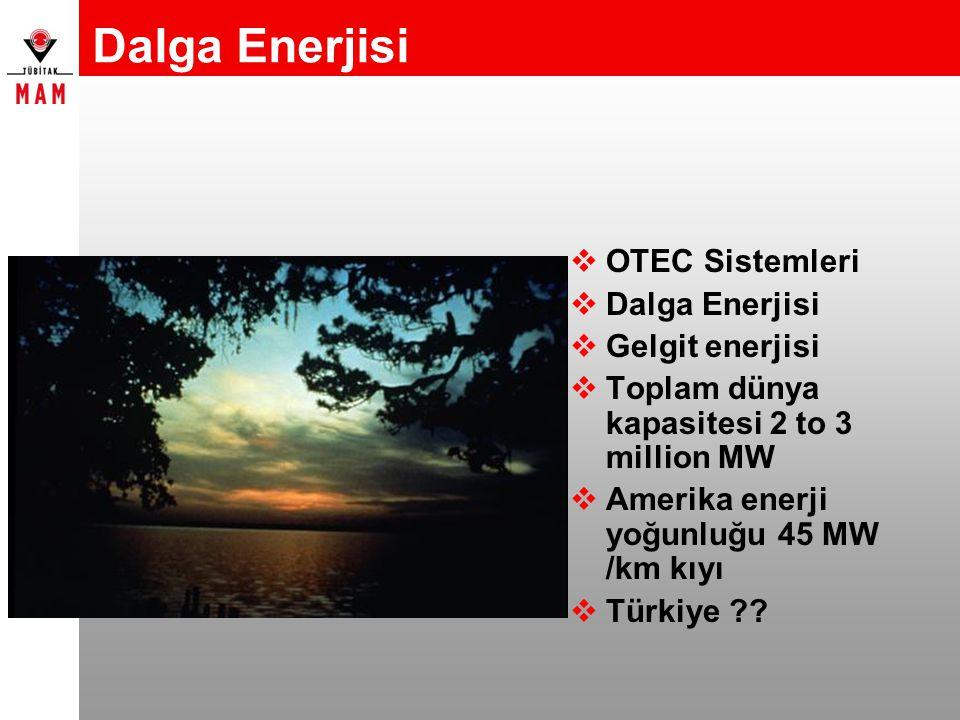 Dalga Enerjisi  OTEC Sistemleri  Dalga Enerjisi  Gelgit enerjisi  Toplam dünya kapasitesi 2 to 3 million MW  Amerika enerji yoğunluğu 45 MW /km k
