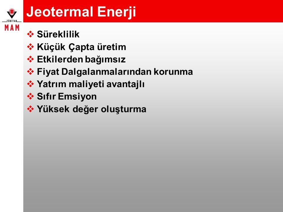Jeotermal Enerji  Süreklilik  Küçük Çapta üretim  Etkilerden bağımsız  Fiyat Dalgalanmalarından korunma  Yatrım maliyeti avantajlı  Sıfır Emsiyo