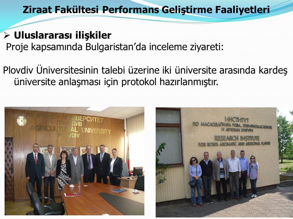 Ziraat Fakültesi Performans Geliştirme Faaliyetleri  Uluslararası ilişkiler Proje kapsamında Bulgaristan'da inceleme ziyareti: Plovdiv Üniversitesini