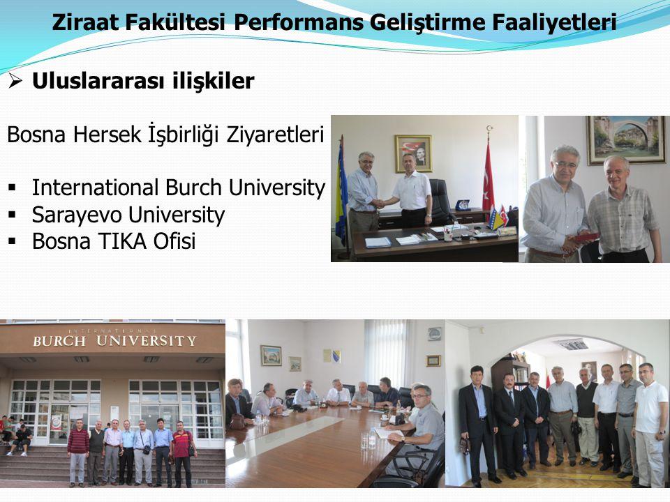 Ziraat Fakültesi Performans Geliştirme Faaliyetleri  Uluslararası ilişkiler Bosna Hersek İşbirliği Ziyaretleri  International Burch University  Sar