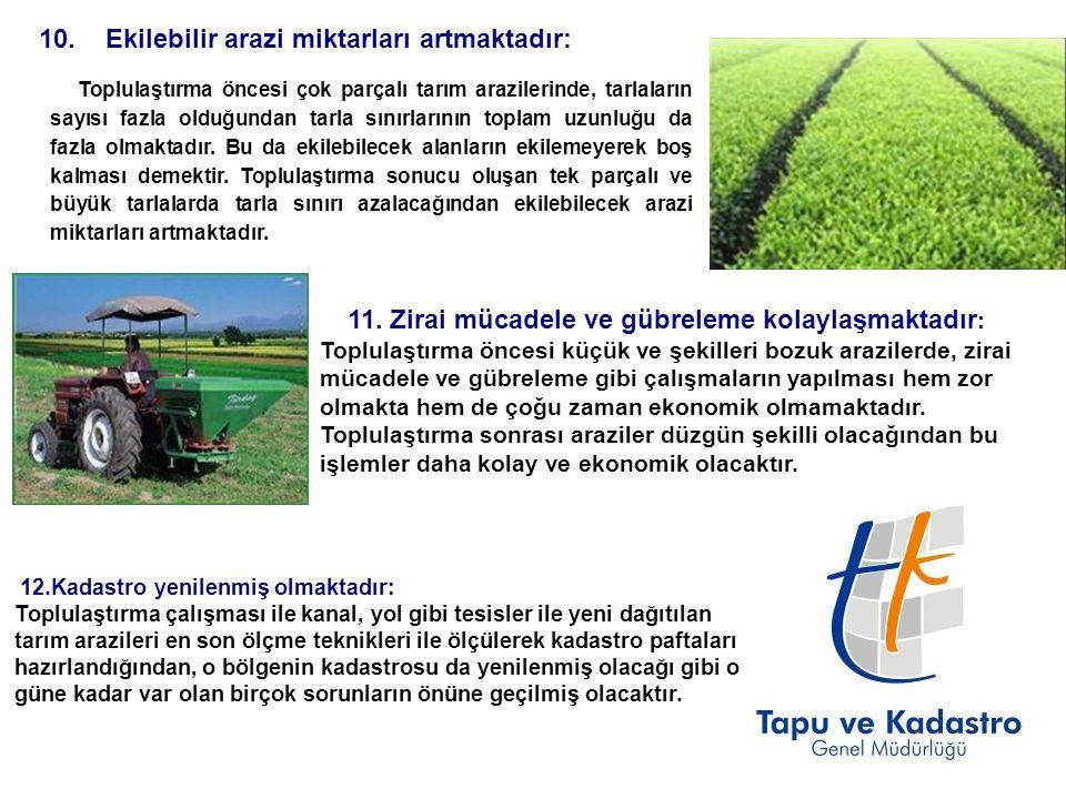 10. Ekilebilir arazi miktarları artmaktadır: Toplulaştırma öncesi çok parçalı tarım arazilerinde, tarlaların sayısı fazla olduğundan tarla sınırlarını