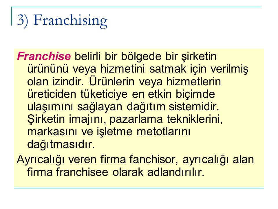 3) Franchising Franchise belirli bir bölgede bir şirketin ürününü veya hizmetini satmak için verilmiş olan izindir. Ürünlerin veya hizmetlerin üretici