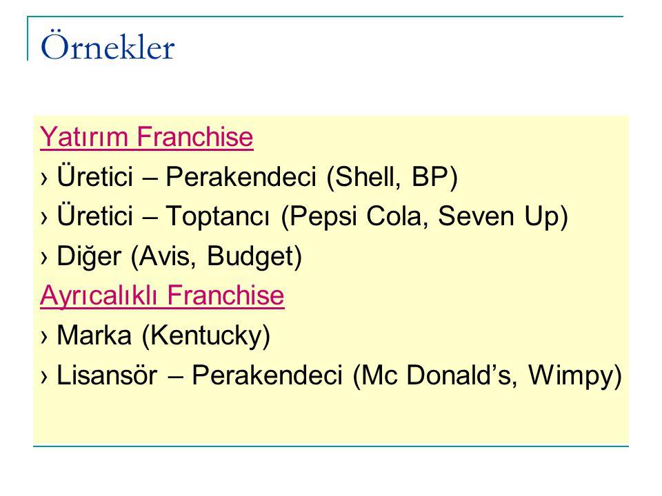 Örnekler Yatırım Franchise › Üretici – Perakendeci (Shell, BP) › Üretici – Toptancı (Pepsi Cola, Seven Up) › Diğer (Avis, Budget) Ayrıcalıklı Franchis