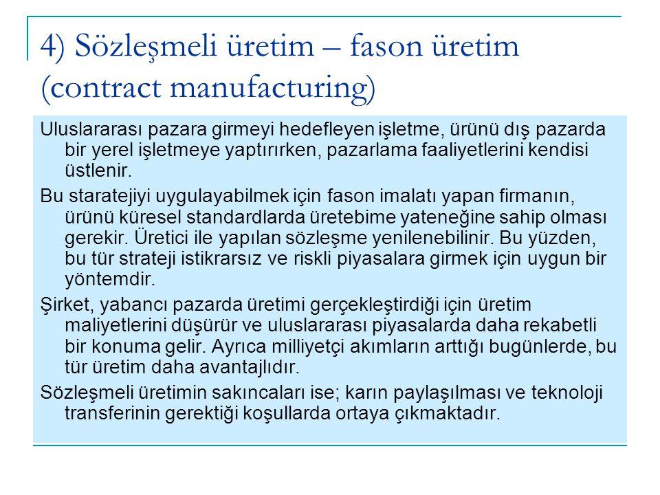4) Sözleşmeli üretim – fason üretim (contract manufacturing) Uluslararası pazara girmeyi hedefleyen işletme, ürünü dış pazarda bir yerel işletmeye yap