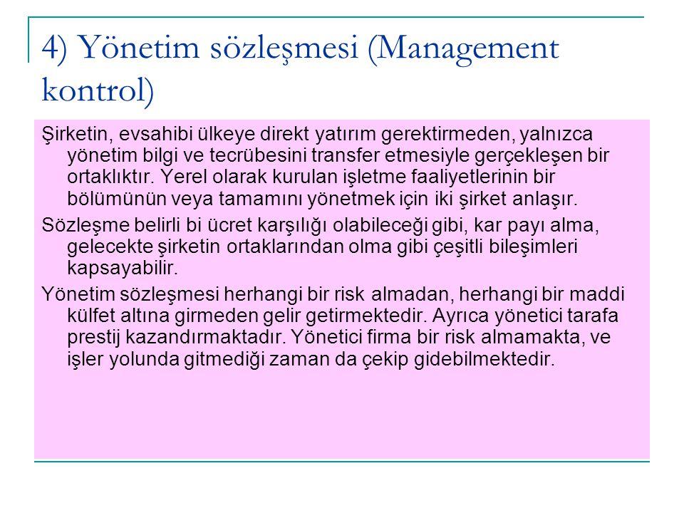 4) Yönetim sözleşmesi (Management kontrol) Şirketin, evsahibi ülkeye direkt yatırım gerektirmeden, yalnızca yönetim bilgi ve tecrübesini transfer etme