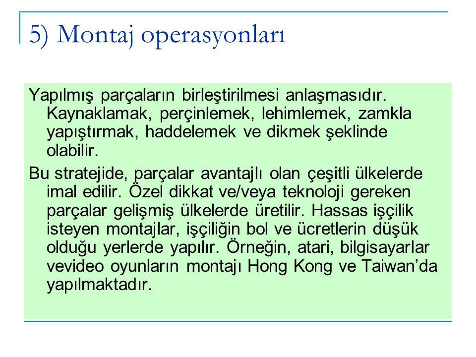 5) Montaj operasyonları Yapılmış parçaların birleştirilmesi anlaşmasıdır. Kaynaklamak, perçinlemek, lehimlemek, zamkla yapıştırmak, haddelemek ve dikm