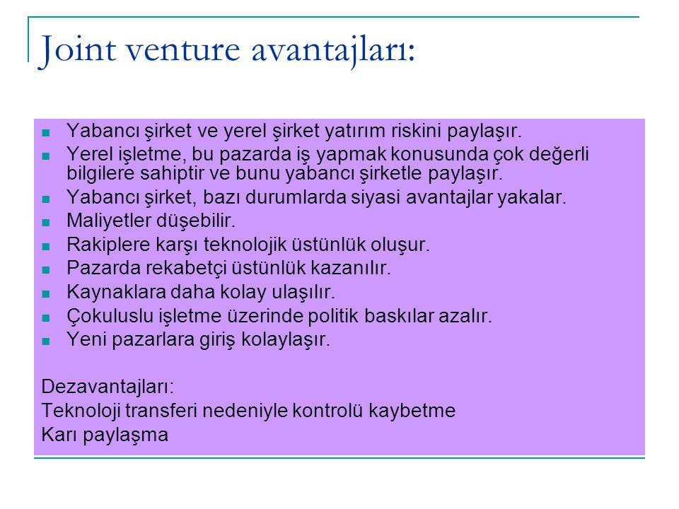 Joint venture avantajları: Yabancı şirket ve yerel şirket yatırım riskini paylaşır. Yerel işletme, bu pazarda iş yapmak konusunda çok değerli bilgiler