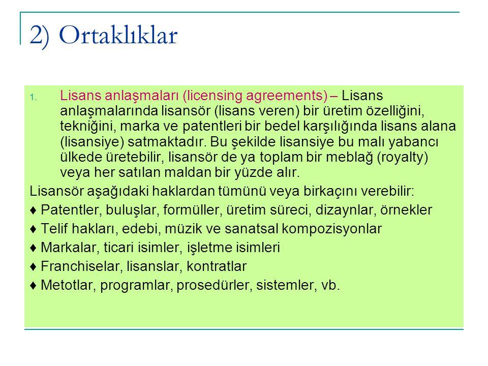 2) Ortaklıklar 1. Lisans anlaşmaları (licensing agreements) – Lisans anlaşmalarında lisansör (lisans veren) bir üretim özelliğini, tekniğini, marka ve