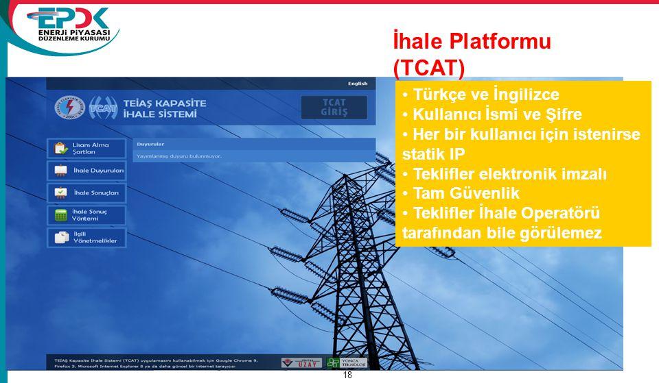 Türkiye Elektrik Piyasası 18 Türkçe ve İngilizce Kullanıcı İsmi ve Şifre Her bir kullanıcı için istenirse statik IP Teklifler elektronik imzalı Tam Gü