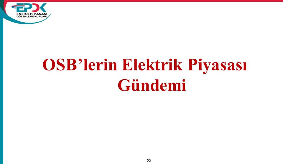 OSB'lerin Elektrik Piyasası Gündemi 23