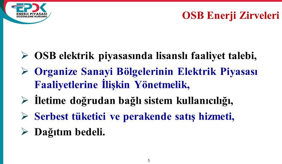  OSB elektrik piyasasında lisanslı faaliyet talebi,  Organize Sanayi Bölgelerinin Elektrik Piyasası Faaliyetlerine İlişkin Yönetmelik,  İletime doğ