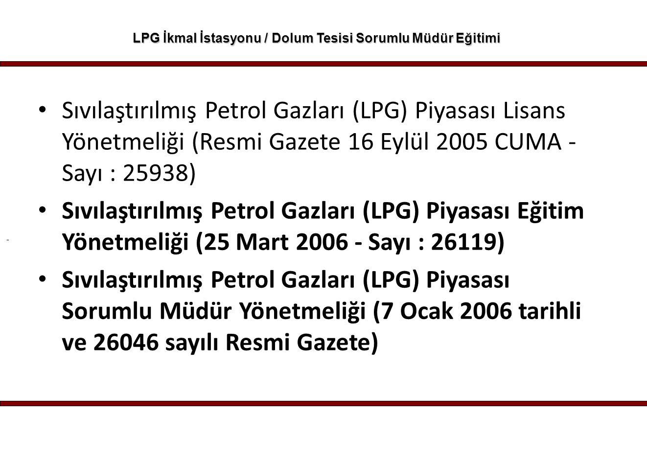 - LPG İkmal İstasyonu / Dolum Tesisi Sorumlu Müdür Eğitimi Enerji Piyasası Düzenleme Kurumundan Sıvılaştırılmış Petrol Gazları (LPG) Piyasası Sorumlu Müdür Yönetmeliği Resmi Gazete Tarihi : 07.01.2006, Resmi Gazete Sayısı : 26046
