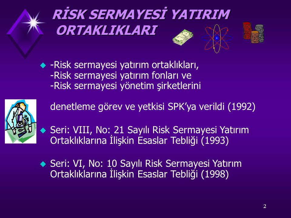 2 u -Risk sermayesi yatırım ortaklıkları, -Risk sermayesi yatırım fonları ve -Risk sermayesi yönetim şirketlerini denetleme görev ve yetkisi SPK'ya verildi (1992) u Seri: VIII, No: 21 Sayılı Risk Sermayesi Yatırım Ortaklıklarına İlişkin Esaslar Tebliği (1993) u Seri: VI, No: 10 Sayılı Risk Sermayesi Yatırım Ortaklıklarına İlişkin Esaslar Tebliği (1998) RİSK SERMAYESİ YATIRIM ORTAKLIKLARI