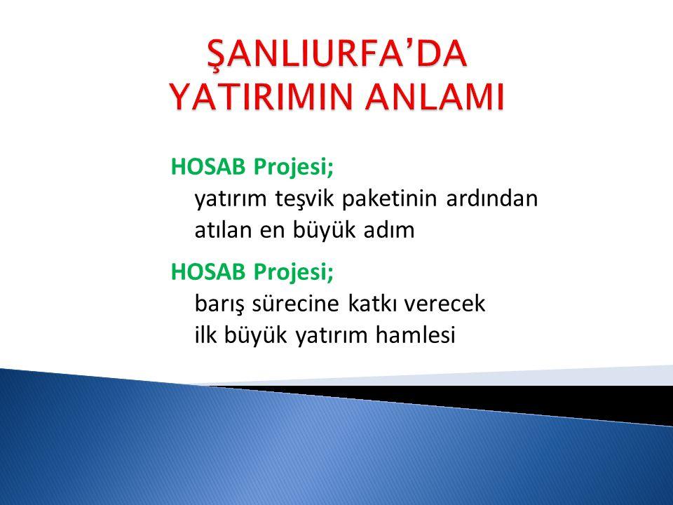 HOSAB Projesi; yatırım teşvik paketinin ardından atılan en büyük adım HOSAB Projesi; barış sürecine katkı verecek ilk büyük yatırım hamlesi