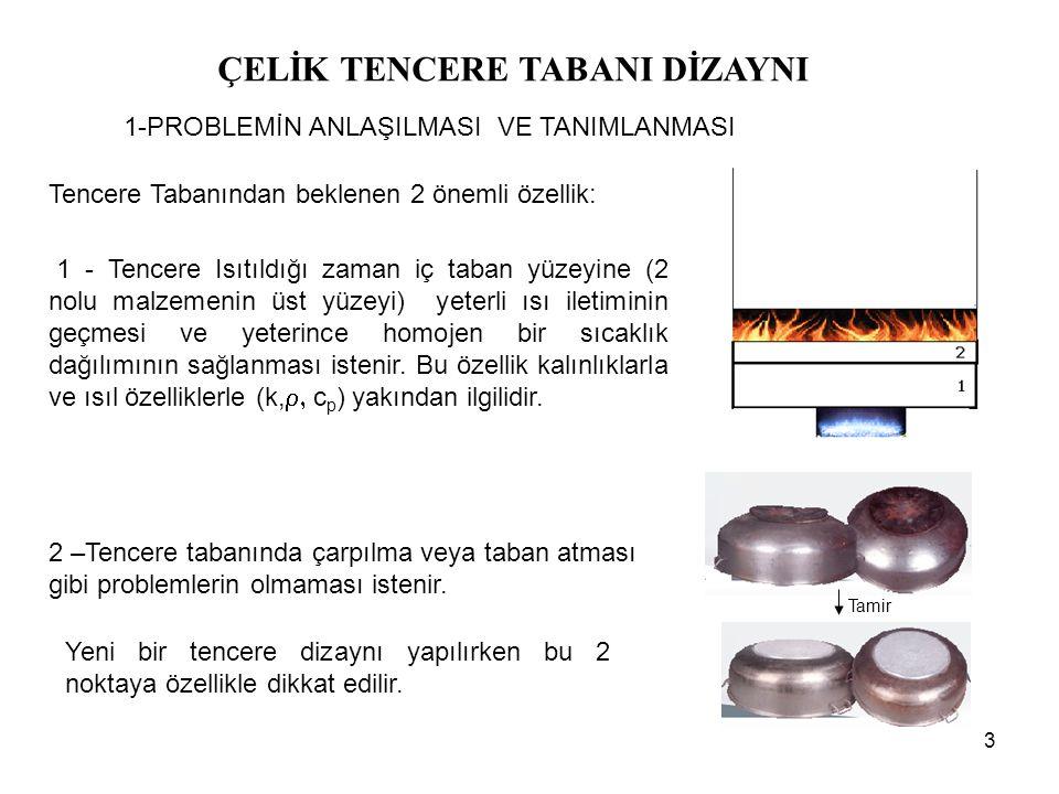 24 ÇELİK TENCERE TABANI DİZAYNI 8-Sonuçlar ve Değerlendirme Sonuçların Yorumlanması - 10 mm taban kalınlıklı Al/CrNi katmanlı yapısı kullanılarak elde edilen yüzey sıcaklık dağılımlarına bakıldığında en üst ve en alt sıcaklık değerleri 293°C ve 115°C ve bunlar arasındaki fark 178°C iken, Cu/CrNi katmanlı yapısı kullanılarak elde edilen yüzey sıcaklık dağılımlarına bakıldığında en üst ve en alt sıcaklık değerleri 314°C ve 156°C ve bunlar arasındaki fark 158°C çıkmaktadır.