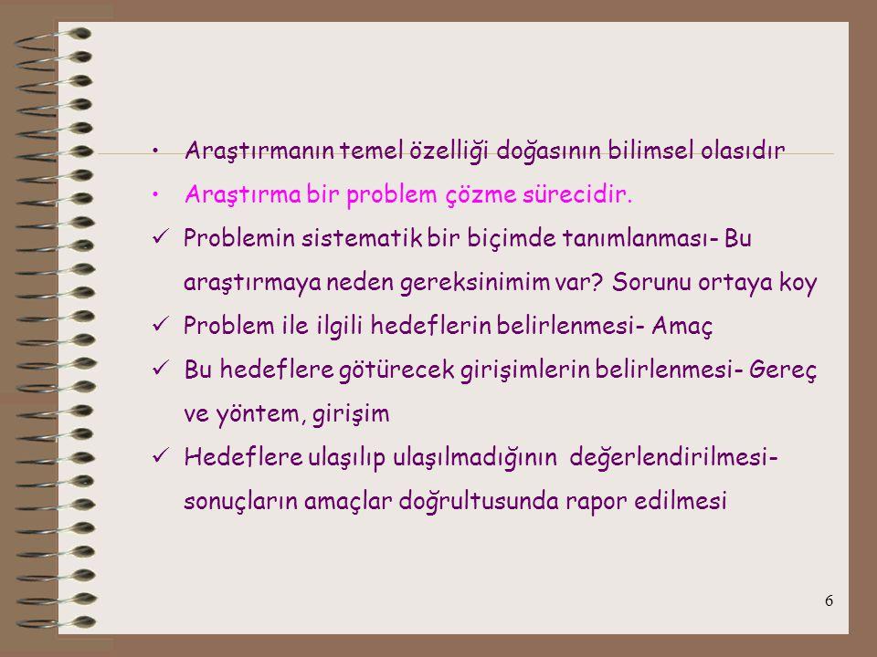 7 Problem çözme süreciHemşirelik süreciAraştırma süreci Veri toplamaDeğerlendirme Veri toplama Toplanan verileri yorumlama Hemşirelik bilgisi Klinik deneyim Literatürün gözden geçirilmesi Problemin tanımlanmasıHemşirelik tanısıProblem ve hedeflerin belirlenmesi Planlama Hedef oluşturma Çözüm yollarını belirleme Planlama Hedef oluşturma Girişimleri planlama Yöntem Araştırma dizaynı Örneklem Ölçme yöntemleri Uygulama Veri toplama ve toplanan verileri analiz etme Süreci değerlendirme ve revize etme Değerlendirme ve modifiye etme Bulgular, bulguların genellenmesi ve paylaşılması (sunum)