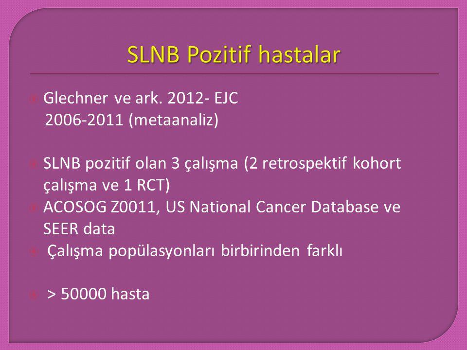  Glechner ve ark. 2012- EJC 2006-2011 (metaanaliz)  SLNB pozitif olan 3 çalışma (2 retrospektif kohort çalışma ve 1 RCT)  ACOSOG Z0011, US National