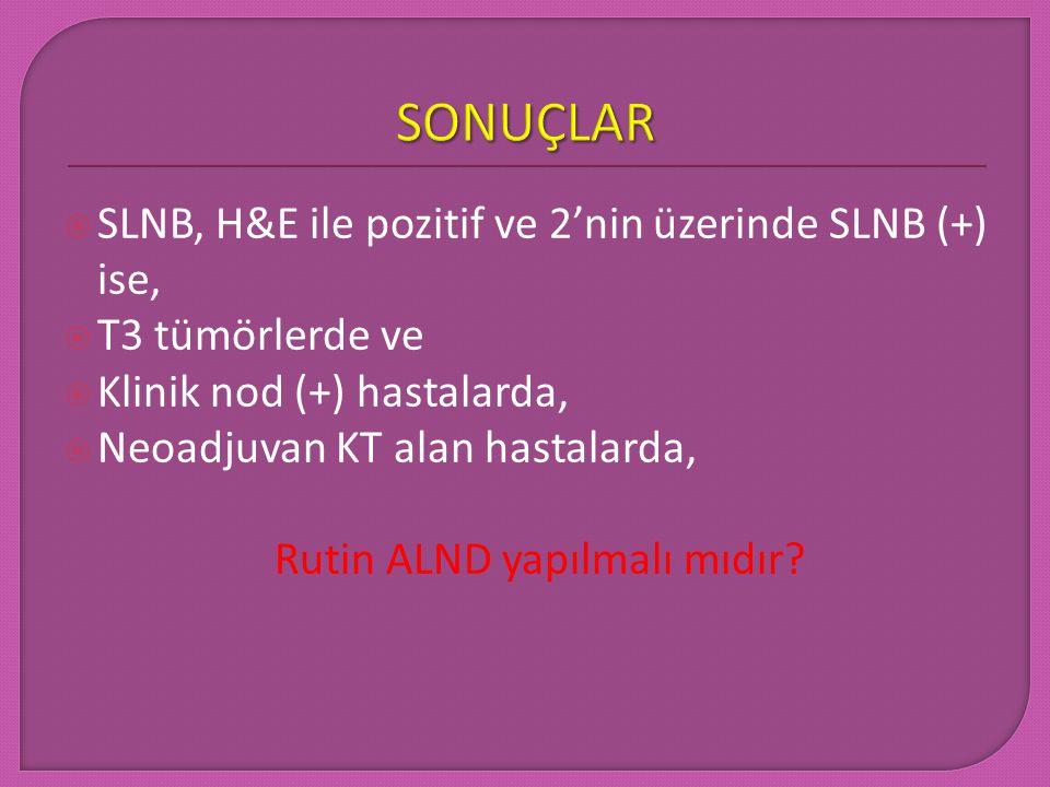  SLNB, H&E ile pozitif ve 2'nin üzerinde SLNB (+) ise,  T3 tümörlerde ve  Klinik nod (+) hastalarda,  Neoadjuvan KT alan hastalarda, Rutin ALND ya