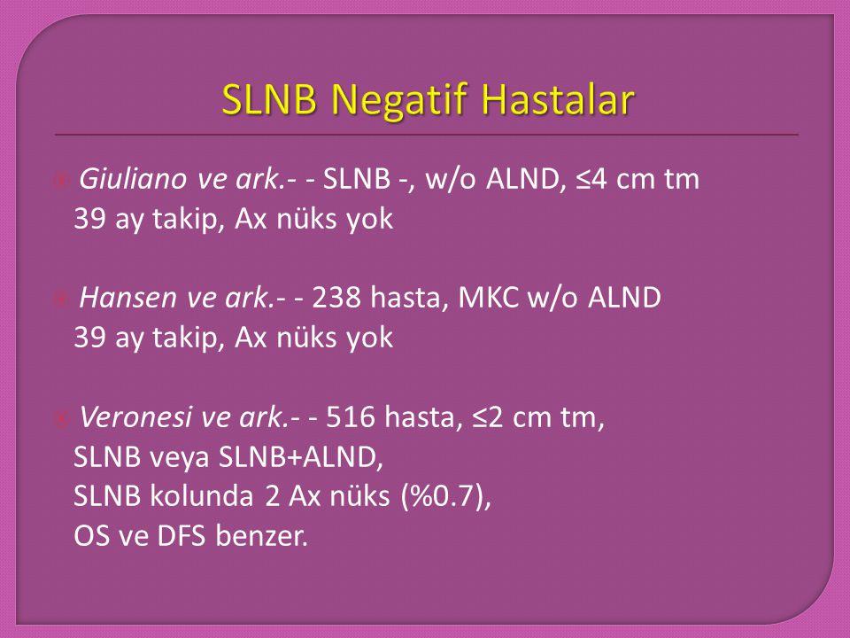 Swedish study, 3534 hasta, ≤3 cm tm, 37 ay takip, Ax nüks %1.2  MSKCC, 4008 hasta, 31 ay takip, Ax nüks %0.12  ACOSOG Z0010, 5237 hasta, klinik nod -, MKC+SLNB, 31 ay takip, Ax nüks %0.2