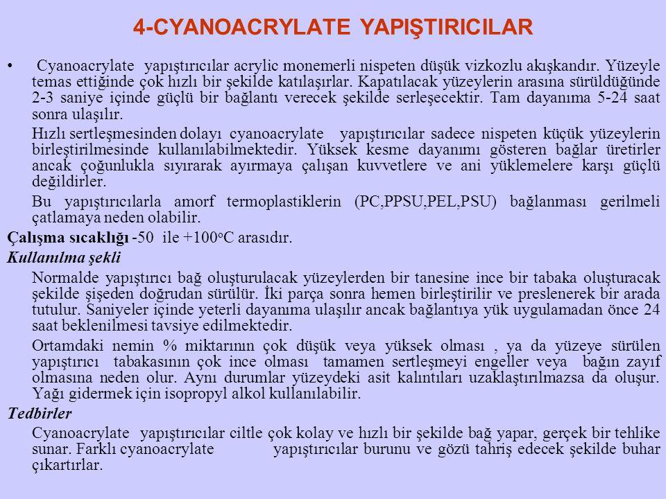 4-CYANOACRYLATE YAPIŞTIRICILAR Cyanoacrylate yapıştırıcılar acrylic monemerli nispeten düşük vizkozlu akışkandır. Yüzeyle temas ettiğinde çok hızlı bi