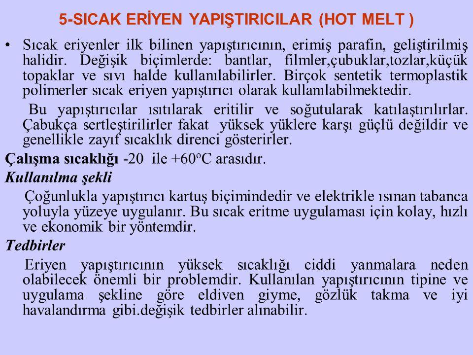 5-SICAK ERİYEN YAPIŞTIRICILAR (HOT MELT ) Sıcak eriyenler ilk bilinen yapıştırıcının, erimiş parafin, geliştirilmiş halidir. Değişik biçimlerde: bantl