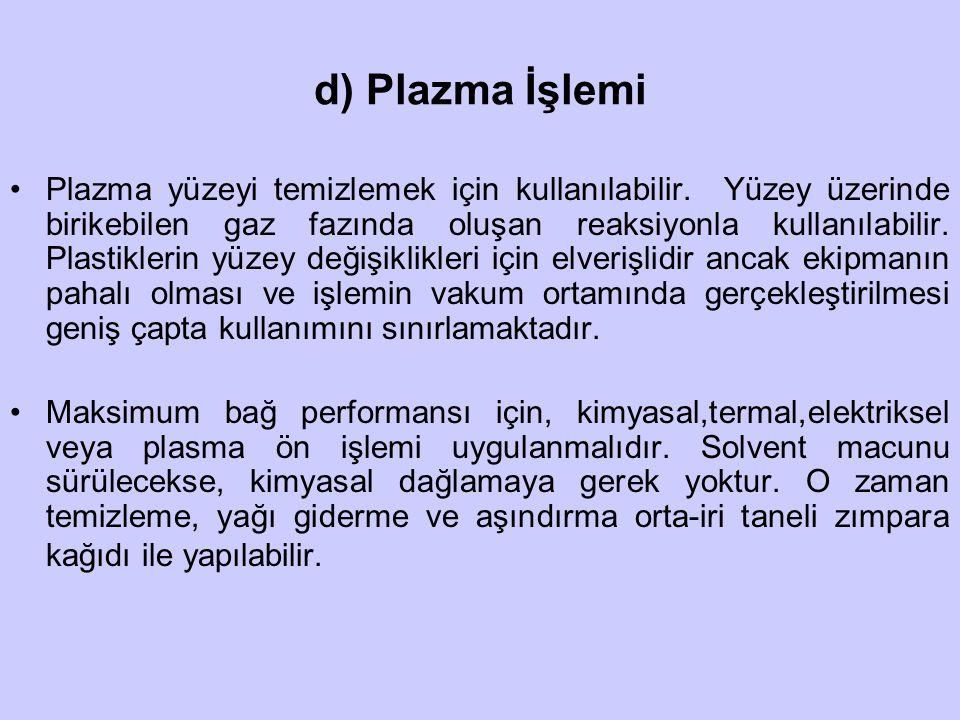 d) Plazma İşlemi Plazma yüzeyi temizlemek için kullanılabilir. Yüzey üzerinde birikebilen gaz fazında oluşan reaksiyonla kullanılabilir. Plastiklerin