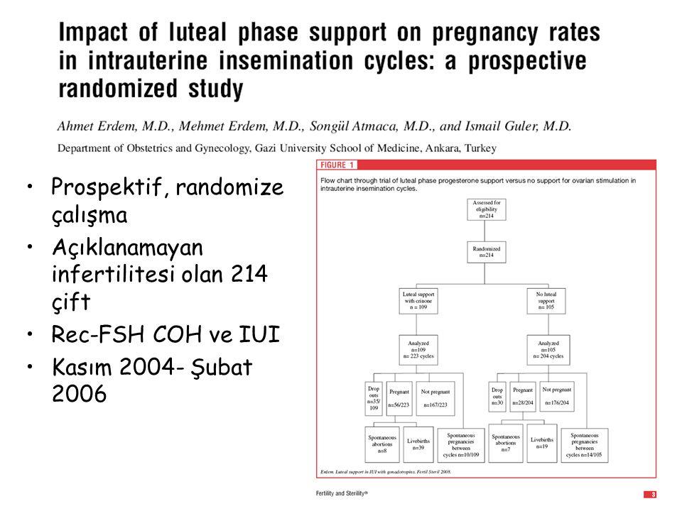 Prospektif, randomize çalışma Açıklanamayan infertilitesi olan 214 çift Rec-FSH COH ve IUI Kasım 2004- Şubat 2006