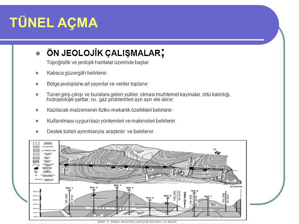 TÜNEL AÇMA ÖN JEOLOJİK ÇALIŞMALAR ; Topoğrafik ve jeolojik haritalar üzerinde başlar. Kabaca güzergâh belirlenir. Bölge jeolojisine ait yayınlar ve ve