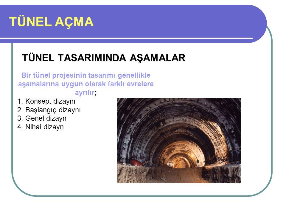 TÜNEL AÇMA TÜNEL TASARIMINDA AŞAMALAR Bir tünel projesinin tasarımı genellikle aşamalarına uygun olarak farklı evrelere ayrılır; 1. Konsept dizaynı 2.