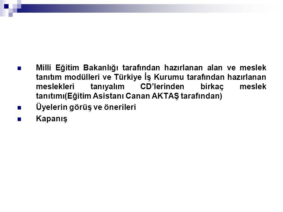 Milli Eğitim Bakanlığı tarafından hazırlanan alan ve meslek tanıtım modülleri ve Türkiye İş Kurumu tarafından hazırlanan meslekleri tanıyalım CD'lerin