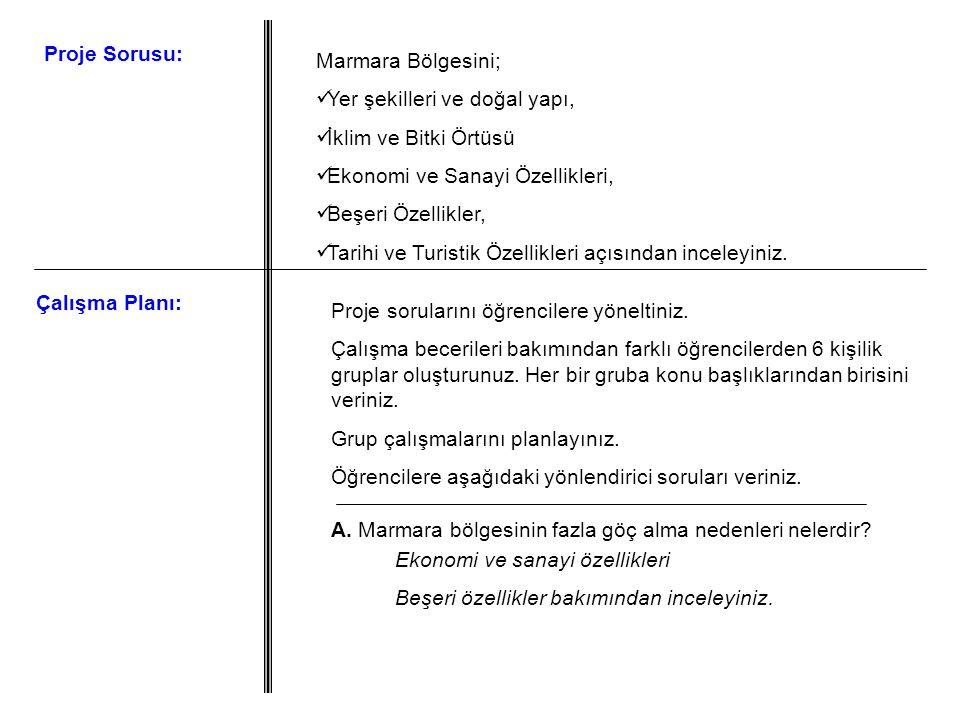 Marmara Bölgesini; Yer şekilleri ve doğal yapı, İklim ve Bitki Örtüsü Ekonomi ve Sanayi Özellikleri, Beşeri Özellikler, Tarihi ve Turistik Özellikleri